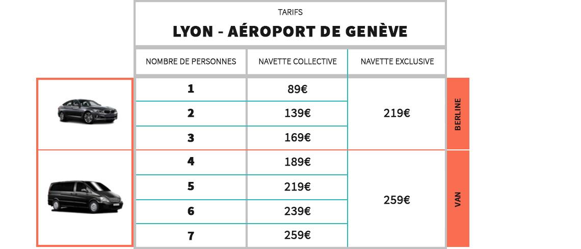 Tarifs Navette Aéroport Genève - Lyon